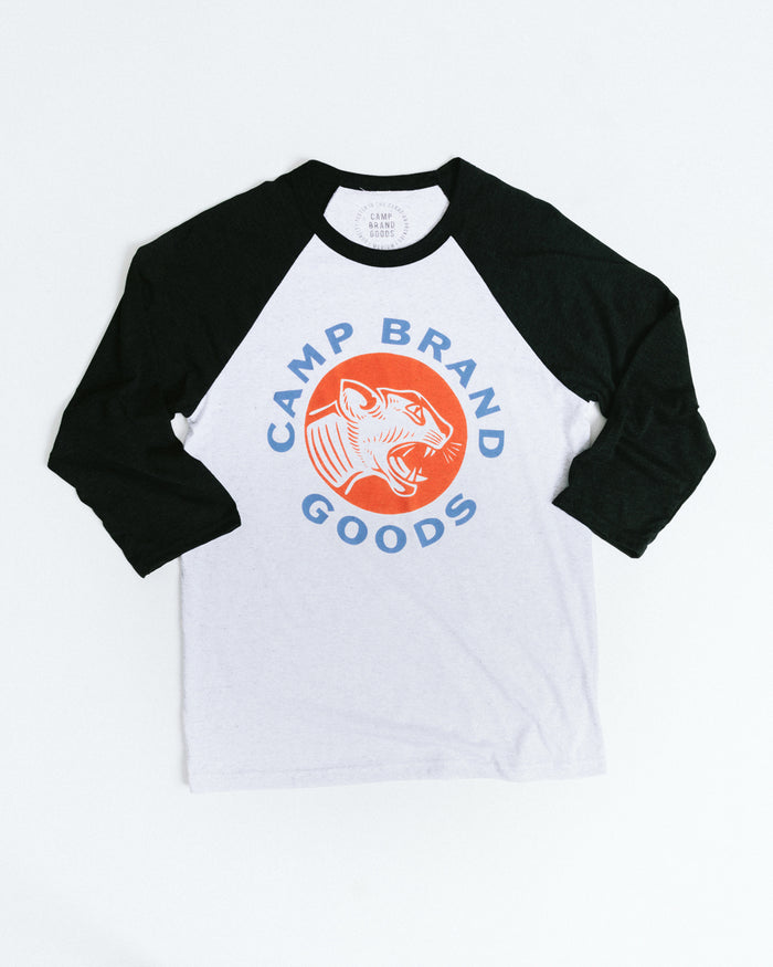 CAT'S MEOW BASEBALL TEE // CHARCOAL + WHITE FLECK