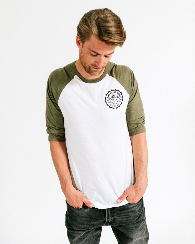 MOUNTAIN HIGH BASEBALL TEE // OLIVE + WHITE