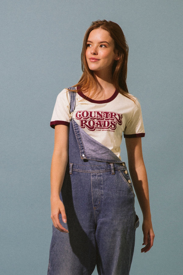 COUNTRY ROADS RINGER T-SHIRT // NATURAL + MAROON