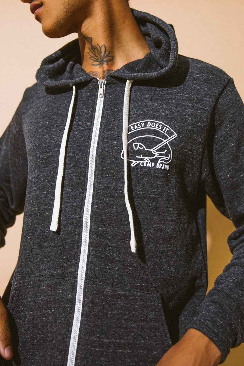 Good Dog Zip Hooded Sweatshirt // Tri Charcoal