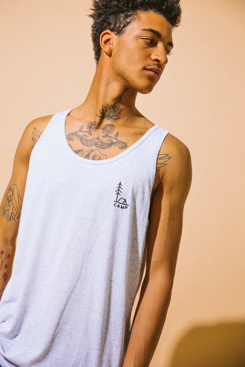 In Tents Tank Top // Tri White Fleck