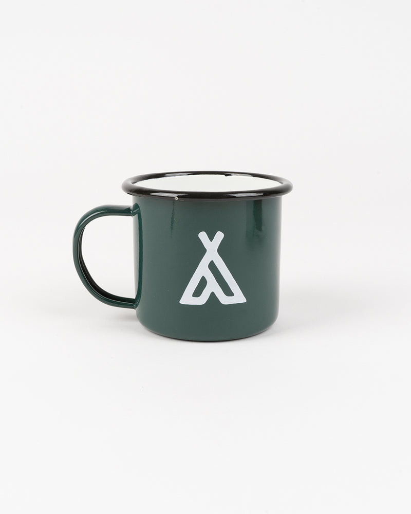 CAMPERS LOGO ENAMEL MUG 12 OZ // DEEP GREEN