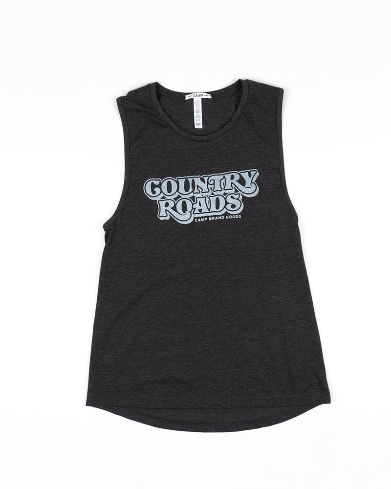 Country Roads Muscle Tank Top // Dark Grey