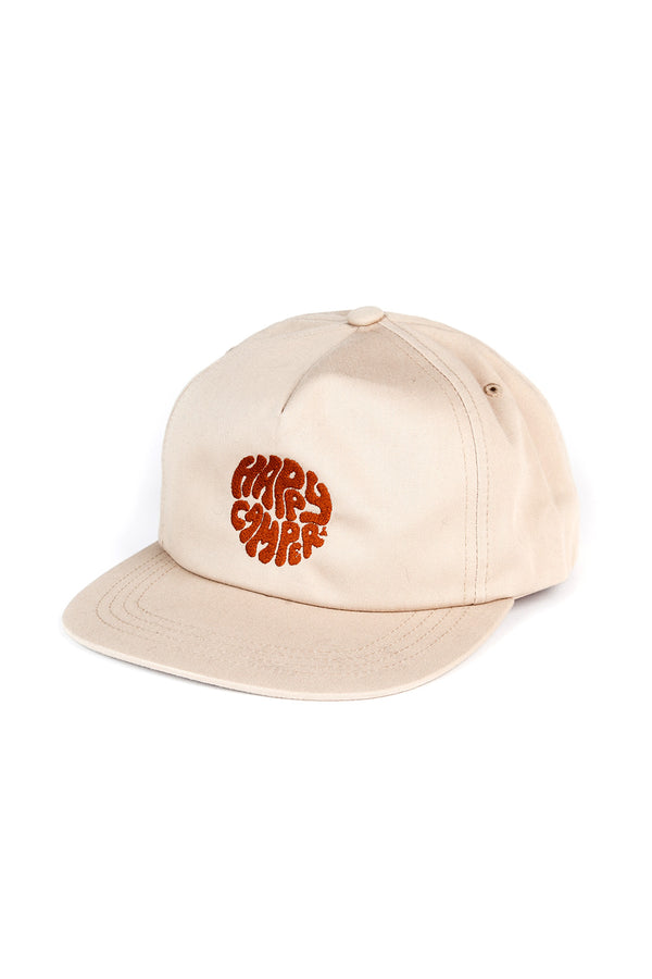 Happiest Camper Snapback Hat // Beige