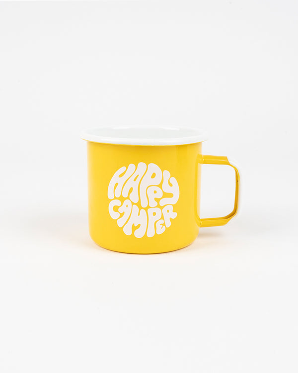 Happiest Camper Enamel Mug 16 oz // Yellow