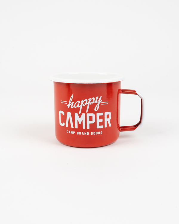Happy Camper Enamel Mug 16 Oz // Fire Red
