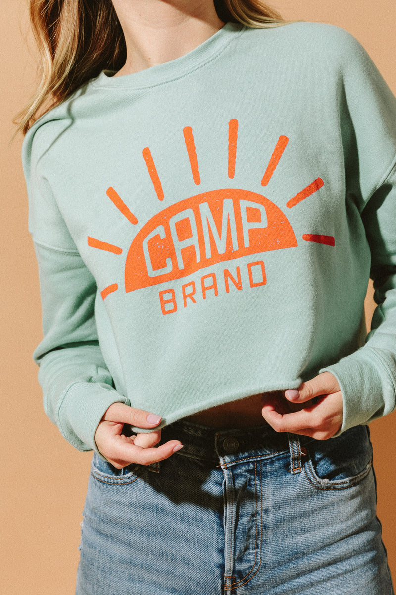 Sunrise Cropped Sweatshirt // Dusty Blue