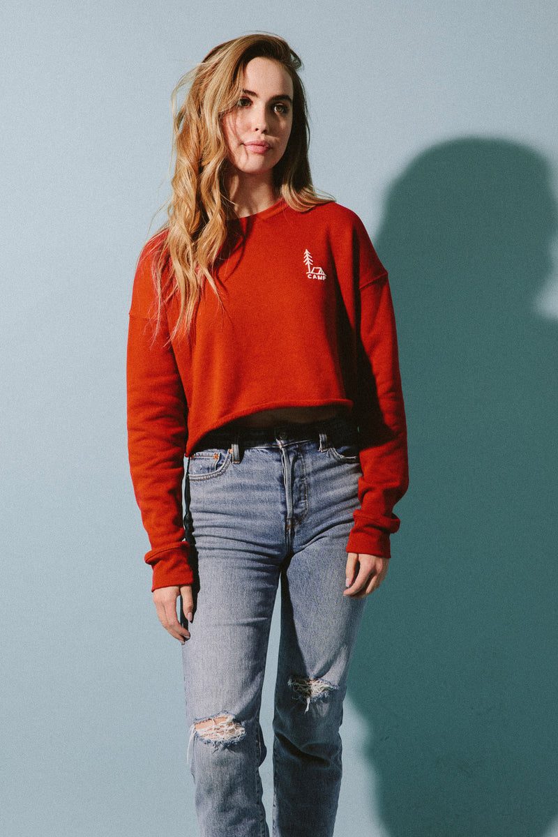 In Tents Cropped Sweatshirt // Brick
