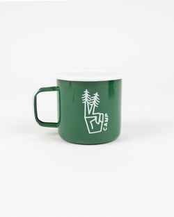 PEACE PINE ENAMEL MUG 16 OZ // FOREST GREEN