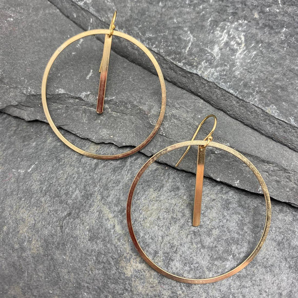 14k gold fill circle & bar earrings