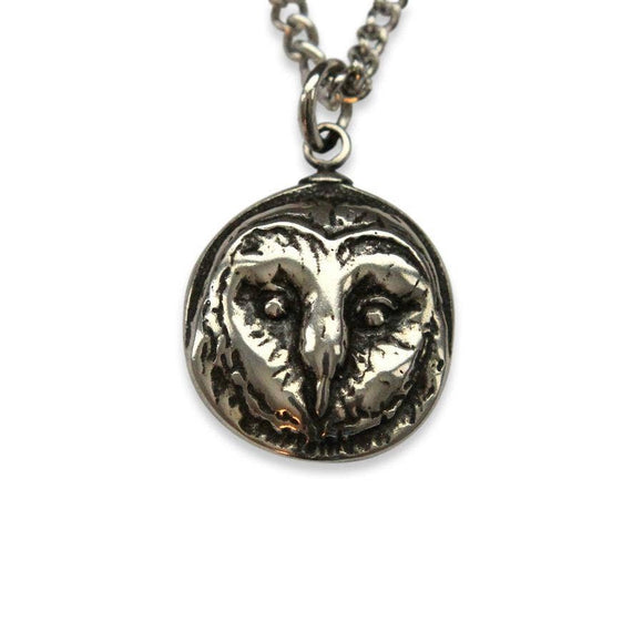 Sterling Silver Barn Owl Pendant Necklace