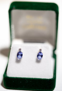 7x5mm Twilight Oval Cut with 2mm CZ accent earrings  {5605}