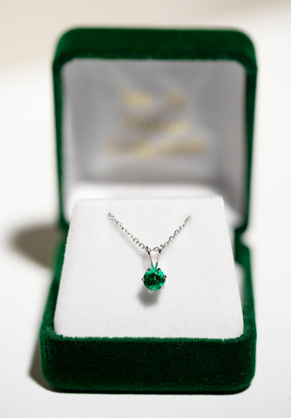 5mm Green (.50ct) Round Solitaire Pendant on Sterling Silver Chain {6508}