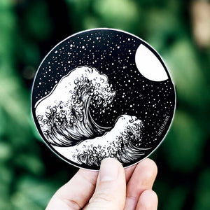 Waves and Night Sky Sticker