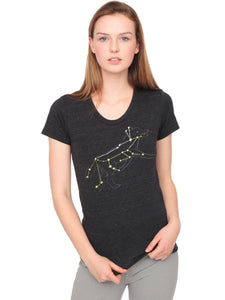 Women's Wolf Constellation T-Shirt with Gold Foil