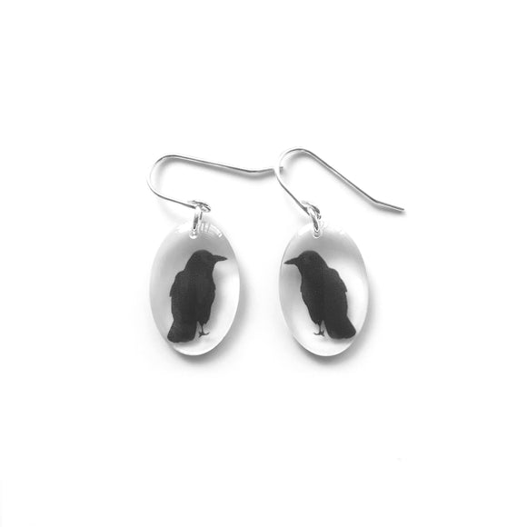 Small Oval Crow Earrings