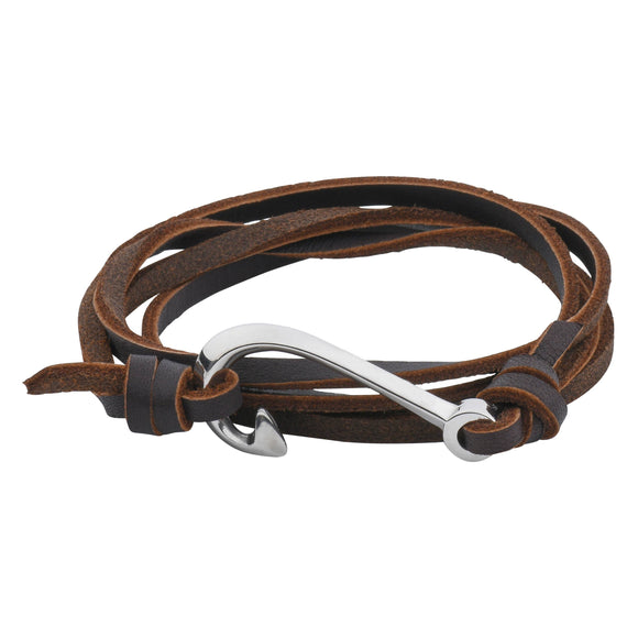 Passion Bracelet - Fishing Hook - Silver on Brown