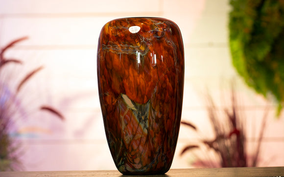 Large Amber Blown Glass Bowl