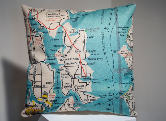 Bainbridge Island Map Accent Pillow