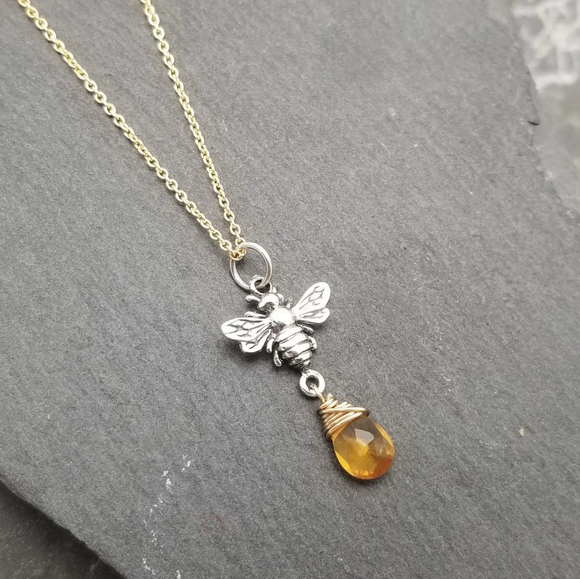 Honey Bee With Amber Drop Necklace