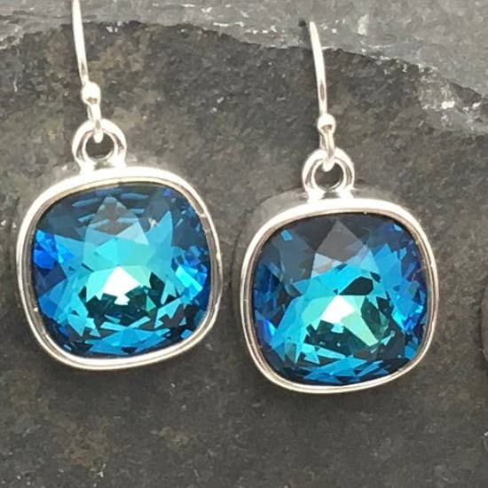 Bermuda Blue Silver Earrings