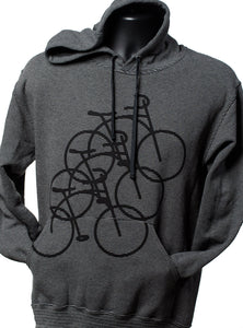 Three Bikes Stripe Hoodie [Dark Grey]