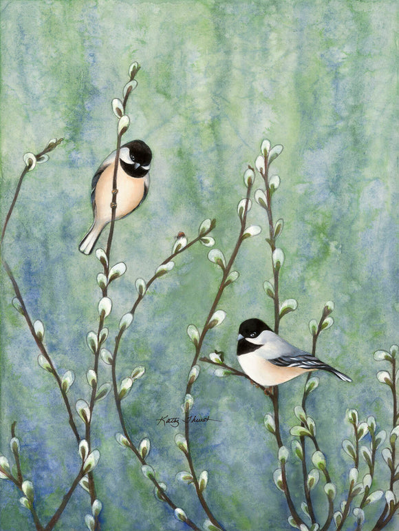 Black Capped Chickadees Among Pussywillows