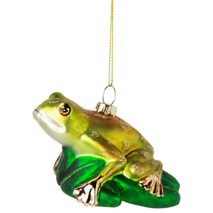 Blown glass frog on lily pad ornament, 4in 6