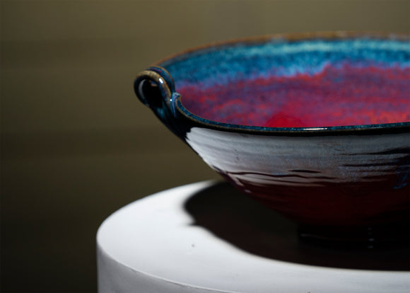 Handmade Ceramic Bowl - Cobalt and Red 12