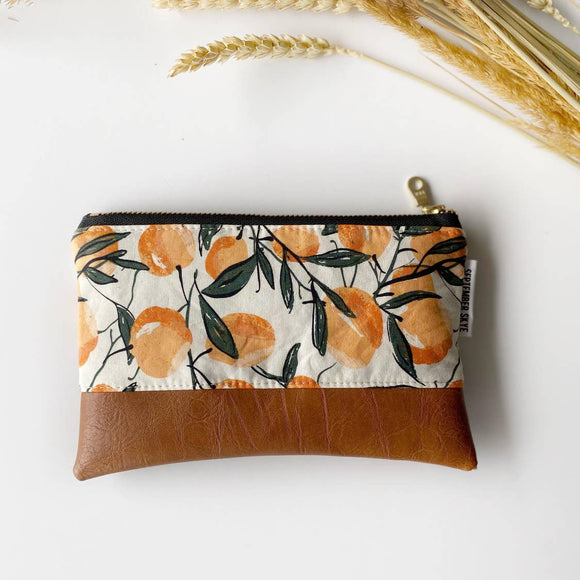 Coin purse in peach print