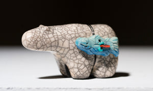 White Crackle Bear with Blue Fish by 100 Horses