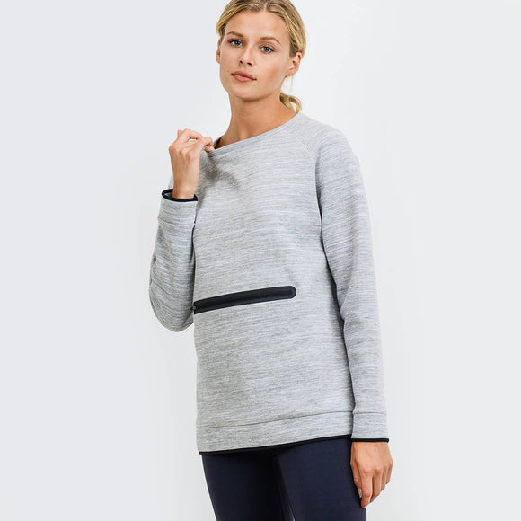 Crew Neck Pullover with Zippered Front Pocket