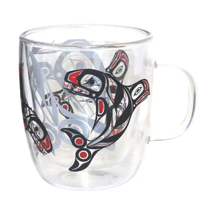Double Walled Glass Mug - Raven Fin Killer Whale by Darrel Amos