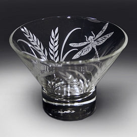 Dragonflies and Grass Etched on a Clear Small Bowl