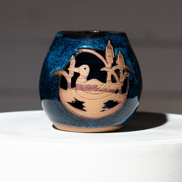 Sapphire Blue Duck Candle Globe