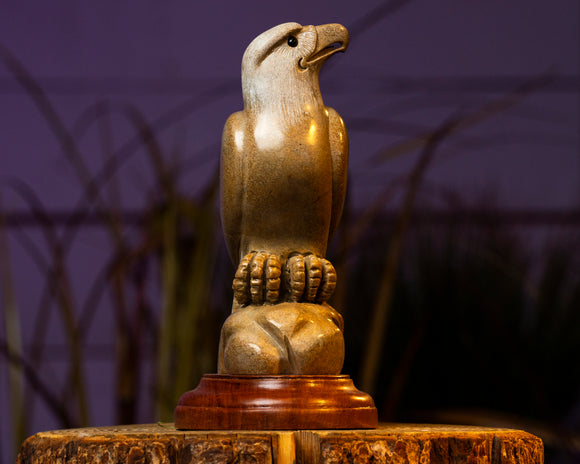 Hand Carved Marble Perched Eagles