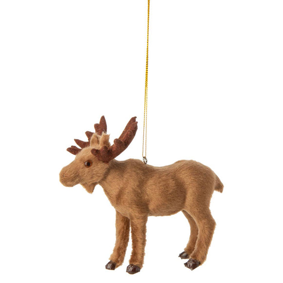 Fabric covered moose ornament with flocked antlers