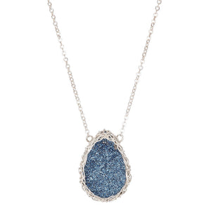 Galaxy Necklace Cobalt in Silver- Small