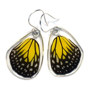 Yellow Glassy Tiger, Bottom Wing Earrings