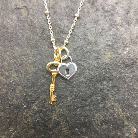 Gold & Silver Lock And Key Necklace