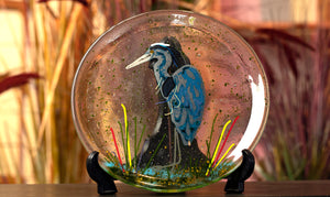 Fused Glass Blue Heron Plate