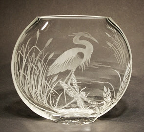 Heron Cattails and Dragonflies on a Clear Medium Sphere Vase