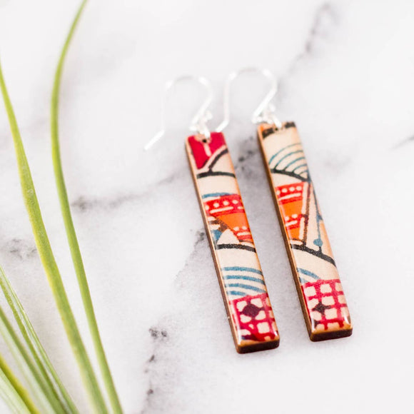 Japanese Bright Geometric Bar Earrings