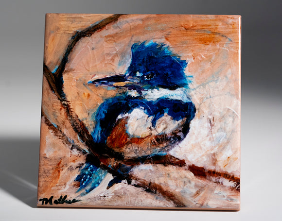 Tiny Kingfisher Coaster by C.Mathie