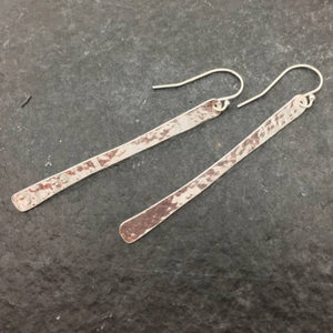 Long Hammered Silver Drops Earrings