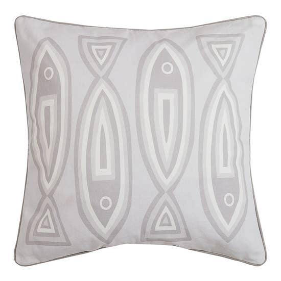Neutral Fish Printed Pillow With Grey Piping