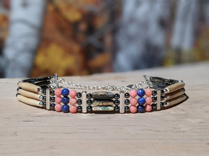 3-Strand Coral and Lapis Native Choker
