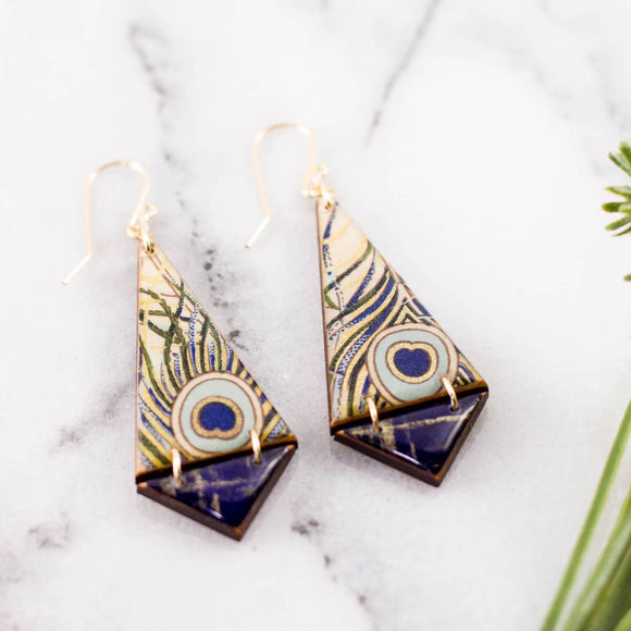 Peacock Feather Double Triangle Earrings