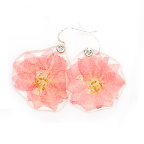 Pink Larkspur Flower Earrings