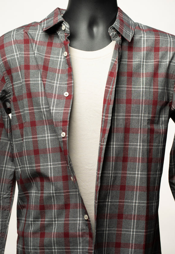 Long Sleve Plaid Shirt - Red/Grey